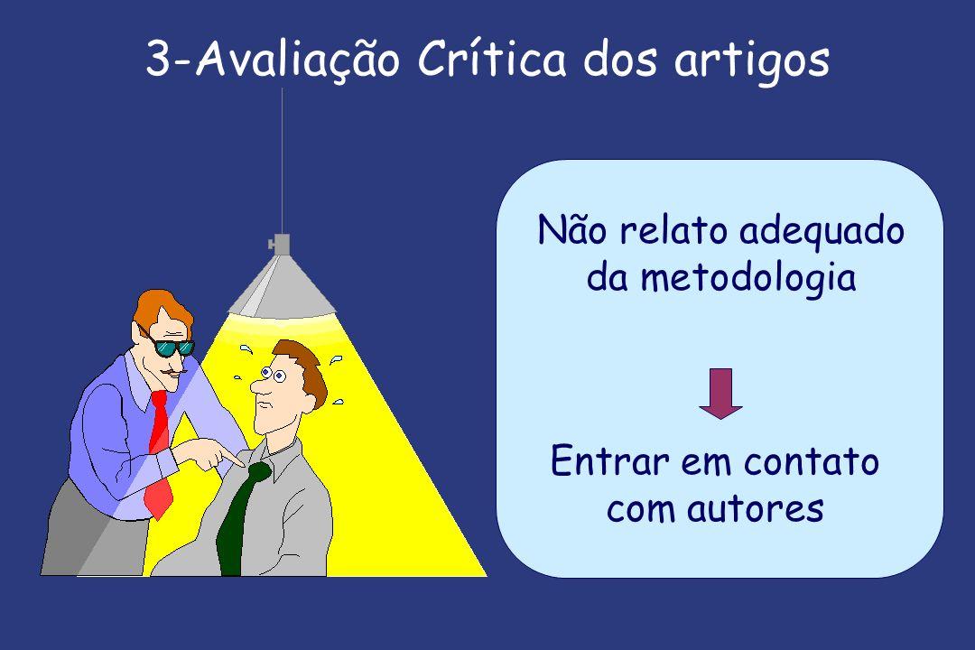 3-Avaliação Crítica dos artigos Não relato adequado da metodologia Entrar em contato com autores