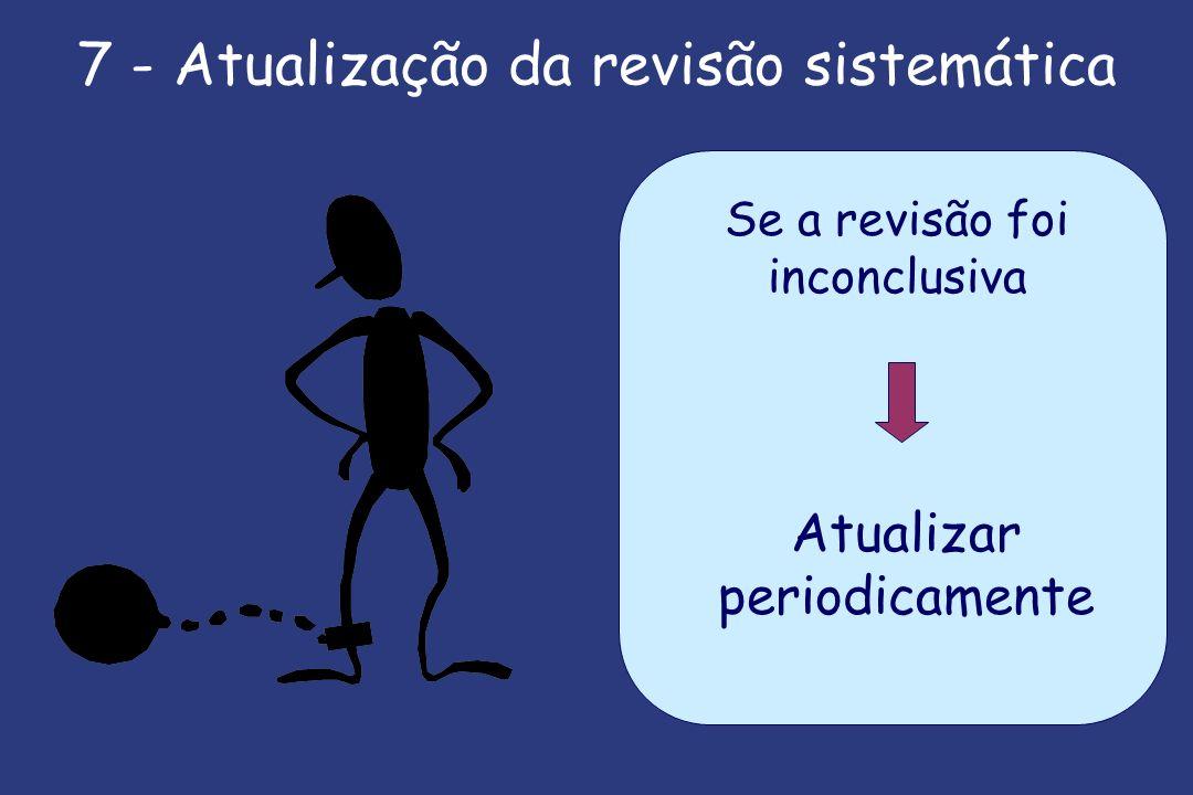 7 - Atualização da revisão sistemática Se a revisão foi inconclusiva Atualizar periodicamente