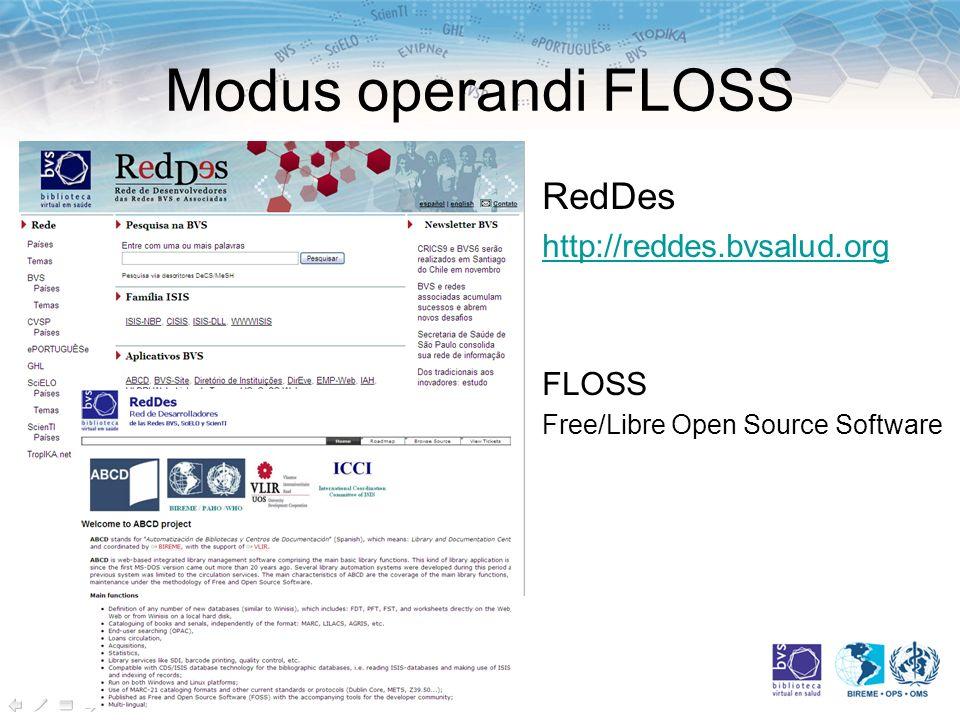 Modus operandi FLOSS RedDes http://reddes.bvsalud.org FLOSS Free/Libre Open Source Software