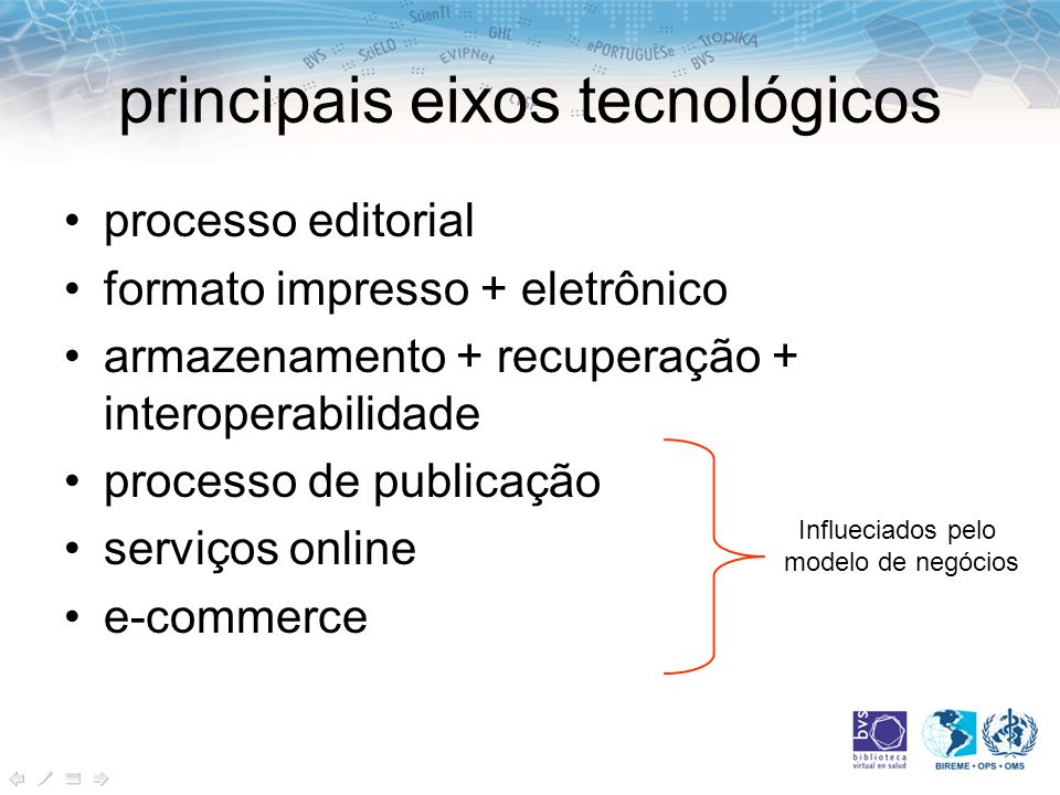 principais eixos tecnológicos processo editorial formato impresso + eletrônico armazenamento + recuperação + interoperabilidade processo de publicação serviços online e-commerce Influeciados pelo modelo de negócios