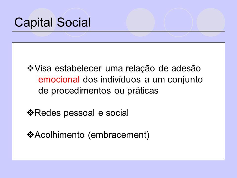 Capital Social Visa estabelecer uma relação de adesão emocional dos indivíduos a um conjunto de procedimentos ou práticas Redes pessoal e social Acolhimento (embracement)