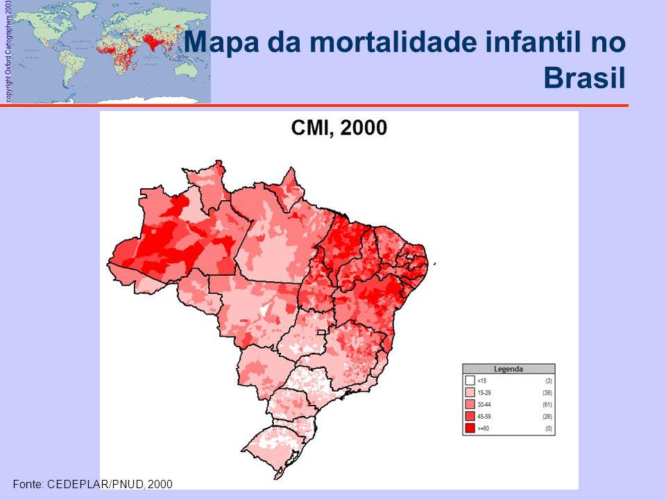 copyright Oxford Cartographers 2003 Mapa da mortalidade infantil no Brasil Fonte: CEDEPLAR/PNUD, 2000