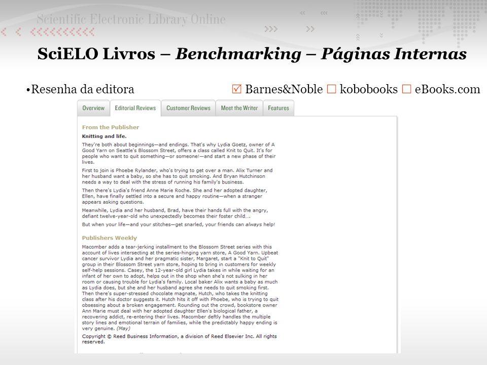 SciELO Livros – Benchmarking – Páginas Internas Resenha da editora Barnes&Noble kobobooks eBooks.com