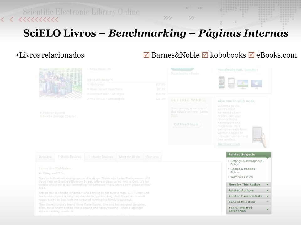SciELO Livros – Benchmarking – Páginas Internas Livros relacionados Barnes&Noble kobobooks eBooks.com