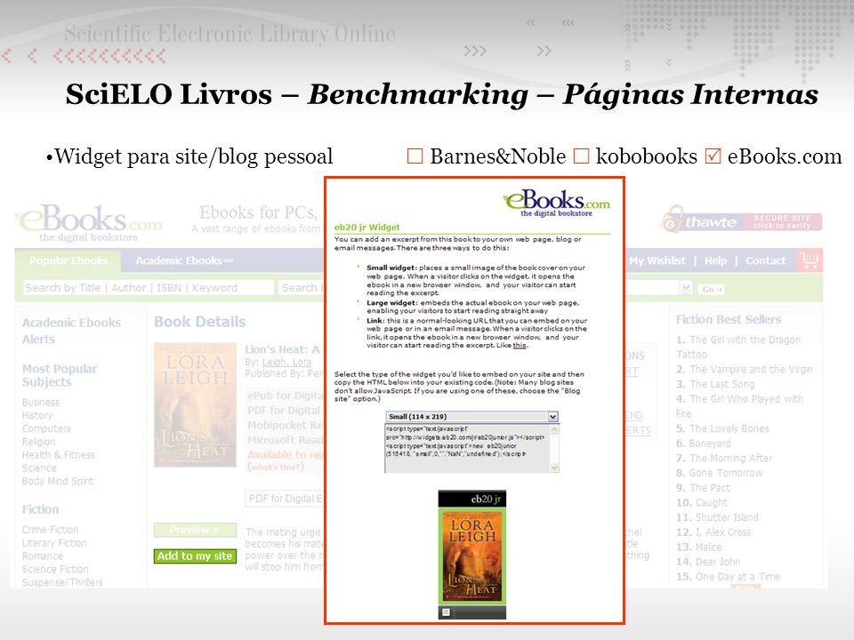 SciELO Livros – Benchmarking – Páginas Internas Widget para site/blog pessoal Barnes&Noble kobobooks eBooks.com