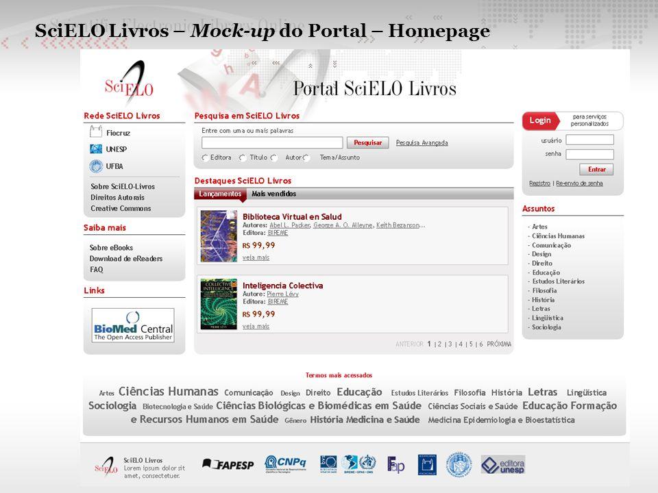 SciELO Livros – Mock-up do Portal – Homepage
