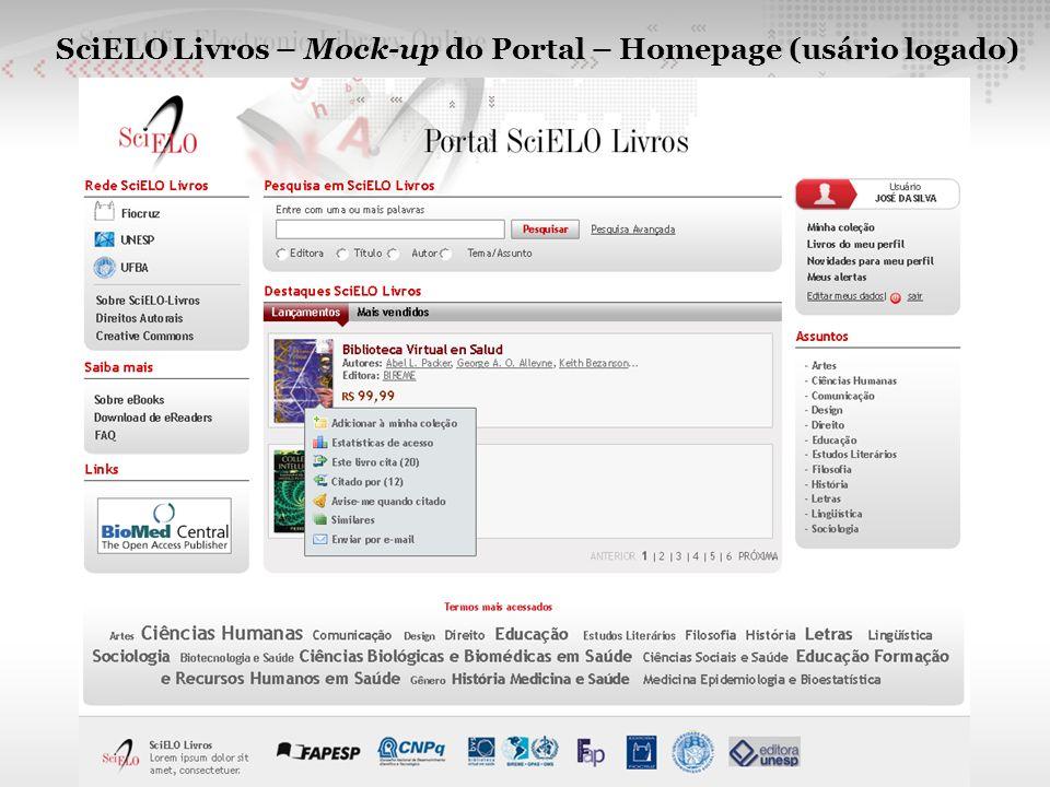SciELO Livros – Mock-up do Portal – Homepage (usário logado)