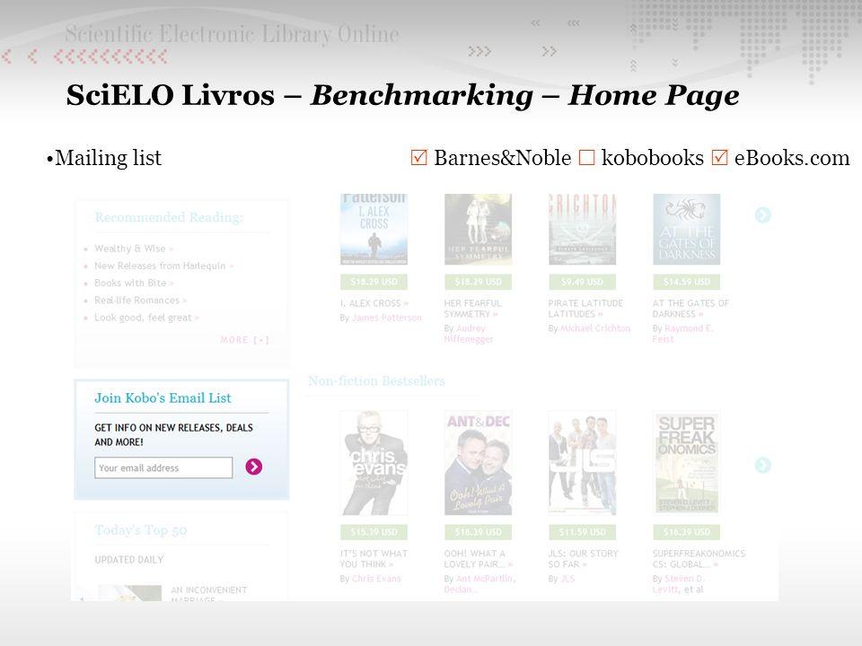 SciELO Livros – Benchmarking – Home Page Mailing list Barnes&Noble kobobooks eBooks.com