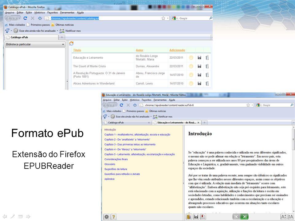 Extensão do Firefox EPUBReader Formato ePub