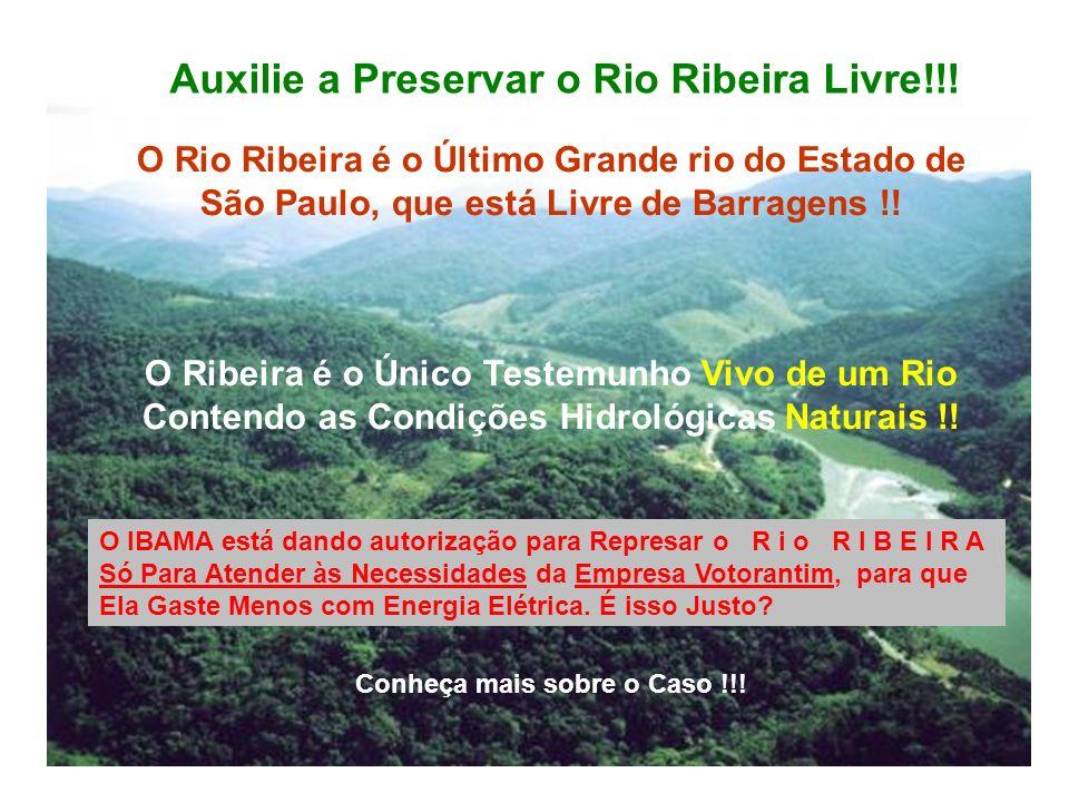 Auxilie a Preservar o Rio Ribeira Livre!!! O Rio Ribeira é o Último Grande rio do Estado de São Paulo, que está Livre de Barragens !! O Ribeira é o Ún