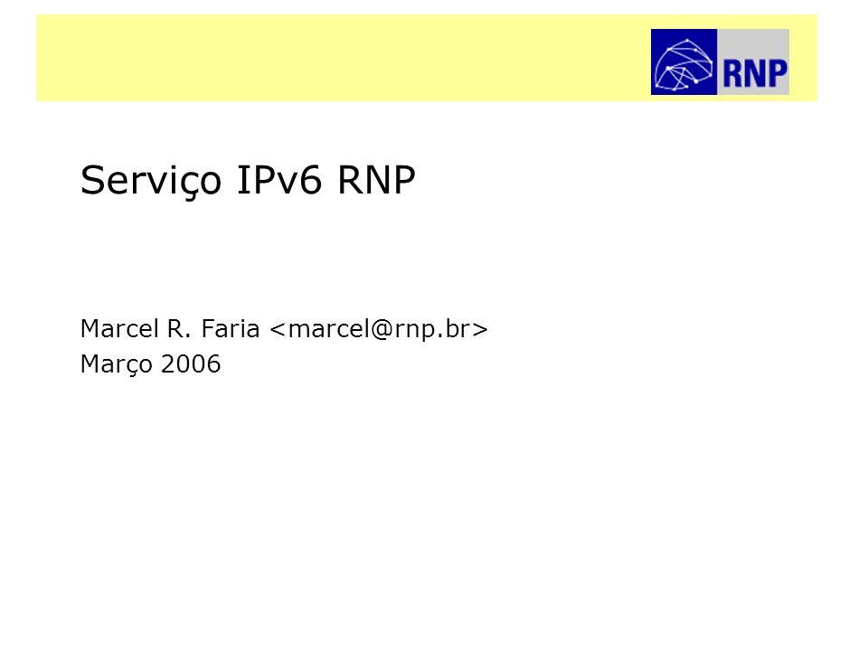 Serviço IPv6 RNPRede Nacional de Ensino e Pesquisa É possivel implementar IPv6 em uma infra-estrutura de produção, sem afetar o serviço commodity Cuidados com seguraça devem ser tomados Tunelamento estático pode ser usado para contornar as limitações da infra-estrutura Novos mecanismos de gerência se tornam necessários Conclusões