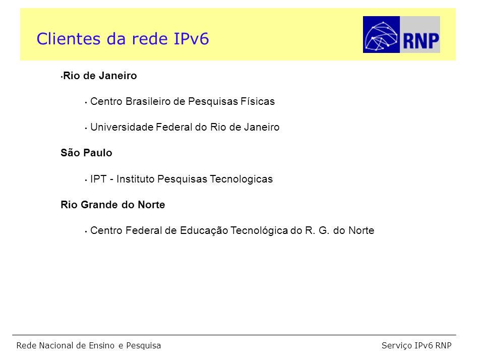 Serviço IPv6 RNPRede Nacional de Ensino e Pesquisa Rio de Janeiro Centro Brasileiro de Pesquisas Físicas Universidade Federal do Rio de Janeiro São Paulo IPT - Instituto Pesquisas Tecnologicas Rio Grande do Norte Centro Federal de Educação Tecnológica do R.