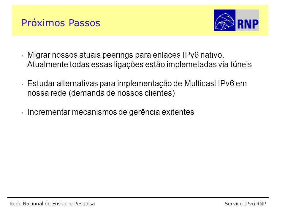 Serviço IPv6 RNPRede Nacional de Ensino e Pesquisa Migrar nossos atuais peerings para enlaces IPv6 nativo. Atualmente todas essas ligações estão imple