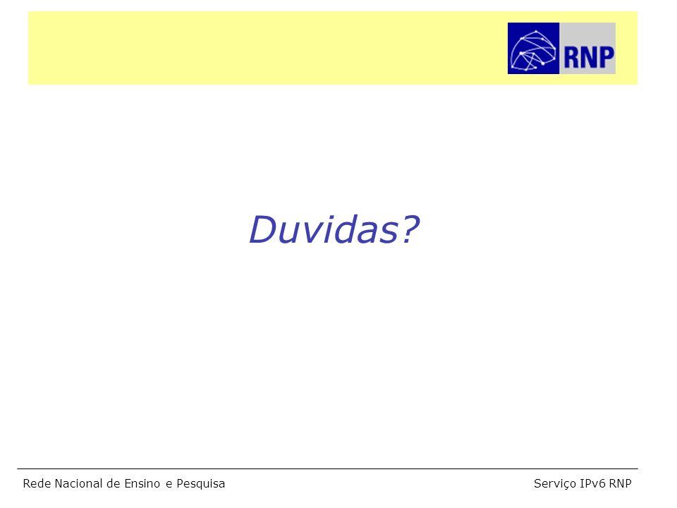 Serviço IPv6 RNPRede Nacional de Ensino e Pesquisa Duvidas?
