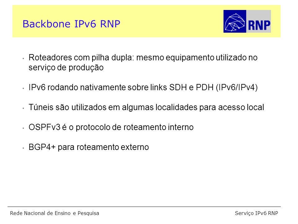 Serviço IPv6 RNPRede Nacional de Ensino e Pesquisa RJ SC PB PR RS DF MG CE BA Pop SDH (2.5G) PoP PDH/FR ESPISEALMAPAAM ACROTOMTMSGO PE RNAPRR SP Rede IPÊ: Inaugurada em 16/11/2005 Backbone IPv6 RNP – topologia