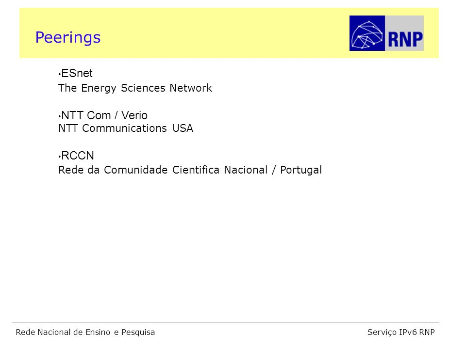 Serviço IPv6 RNPRede Nacional de Ensino e Pesquisa ESnet The Energy Sciences Network NTT Com / Verio NTT Communications USA RCCN Rede da Comunidade Ci