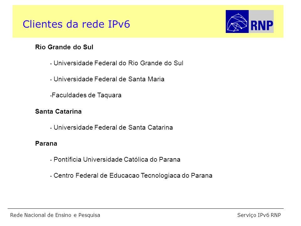 Serviço IPv6 RNPRede Nacional de Ensino e Pesquisa Rio Grande do Sul Universidade Federal do Rio Grande do Sul Universidade Federal de Santa Maria Fac