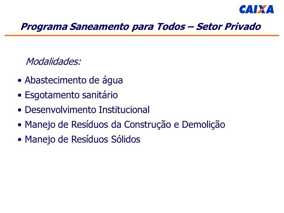Programa Saneamento para Todos – Setor Privado Modalidades: Abastecimento de água Esgotamento sanitário Desenvolvimento Institucional Manejo de Resíduos da Construção e Demolição Manejo de Resíduos Sólidos