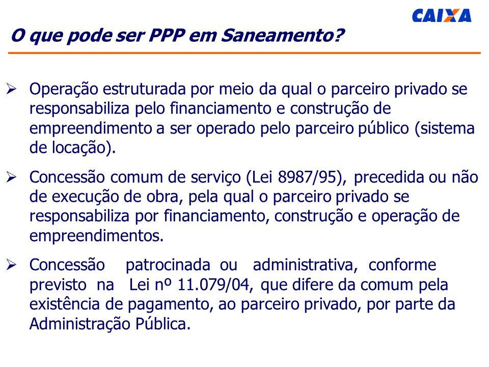 O que pode ser PPP em Saneamento.