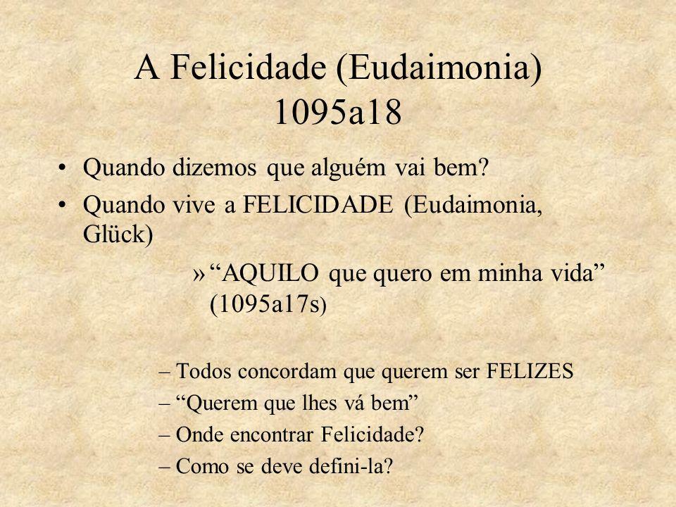 A Felicidade (Eudaimonia) 1095a18 Quando dizemos que alguém vai bem? Quando vive a FELICIDADE (Eudaimonia, Glück) »AQUILO que quero em minha vida (109