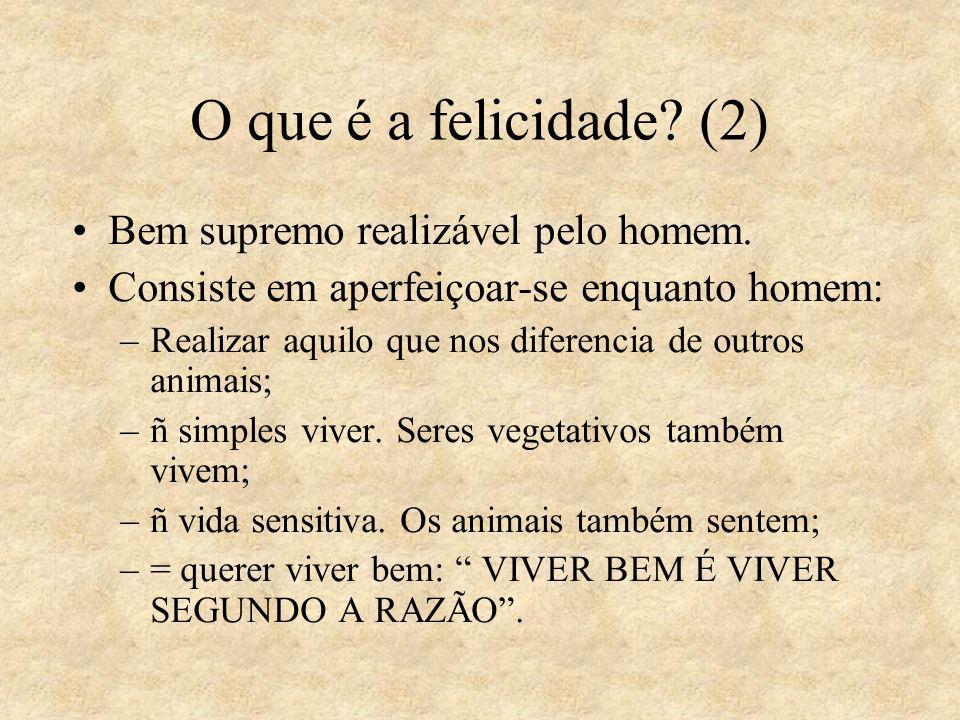 O que é a felicidade? (2) Bem supremo realizável pelo homem. Consiste em aperfeiçoar-se enquanto homem: –Realizar aquilo que nos diferencia de outros