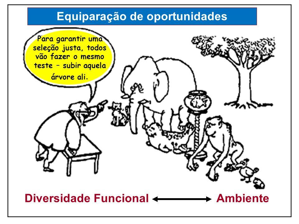 Diversidade Funcional Ambiente Para garantir uma seleção justa, todos vão fazer o mesmo teste – subir aquela árvore ali. Equiparação de oportunidades
