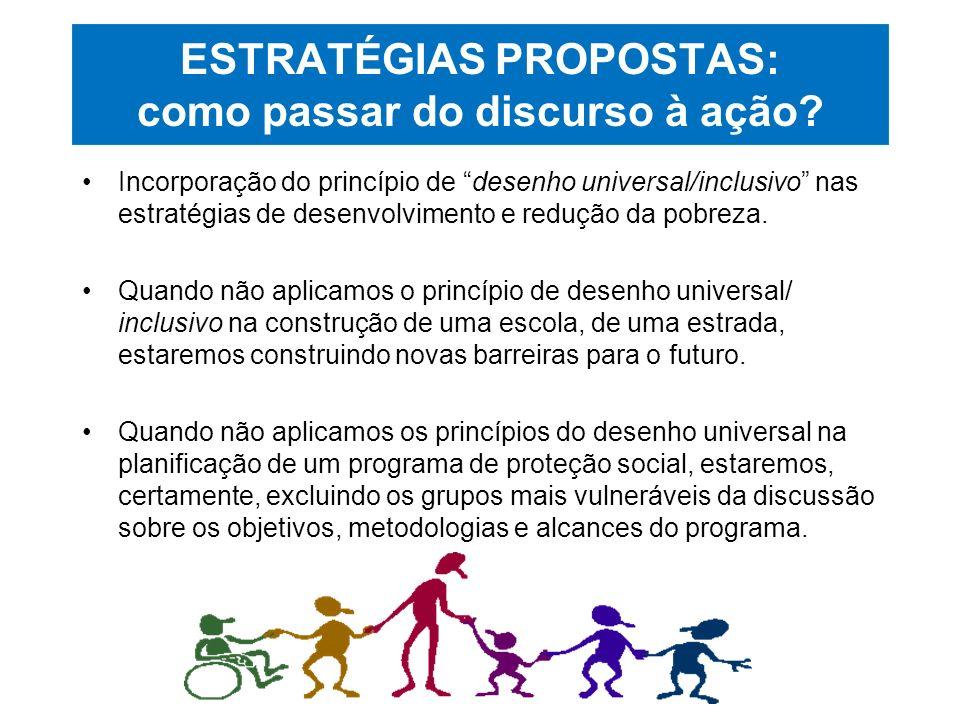 ESTRATÉGIAS PROPOSTAS: como passar do discurso à ação? Incorporação do princípio de desenho universal/inclusivo nas estratégias de desenvolvimento e r