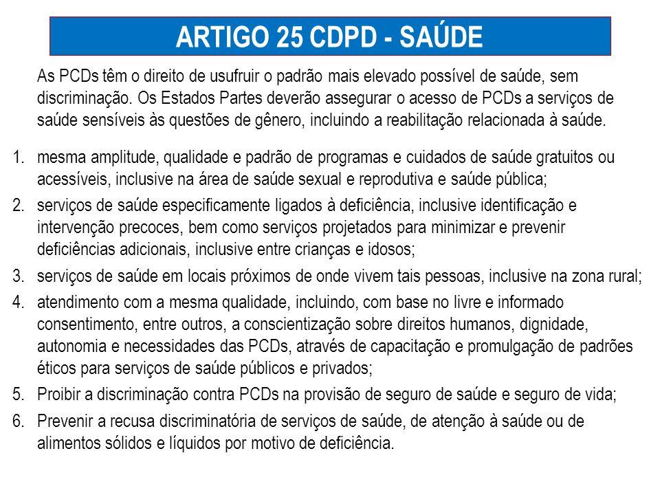 ARTIGO 25 CDPD - SAÚDE As PCDs têm o direito de usufruir o padrão mais elevado possível de saúde, sem discriminação. Os Estados Partes deverão assegur