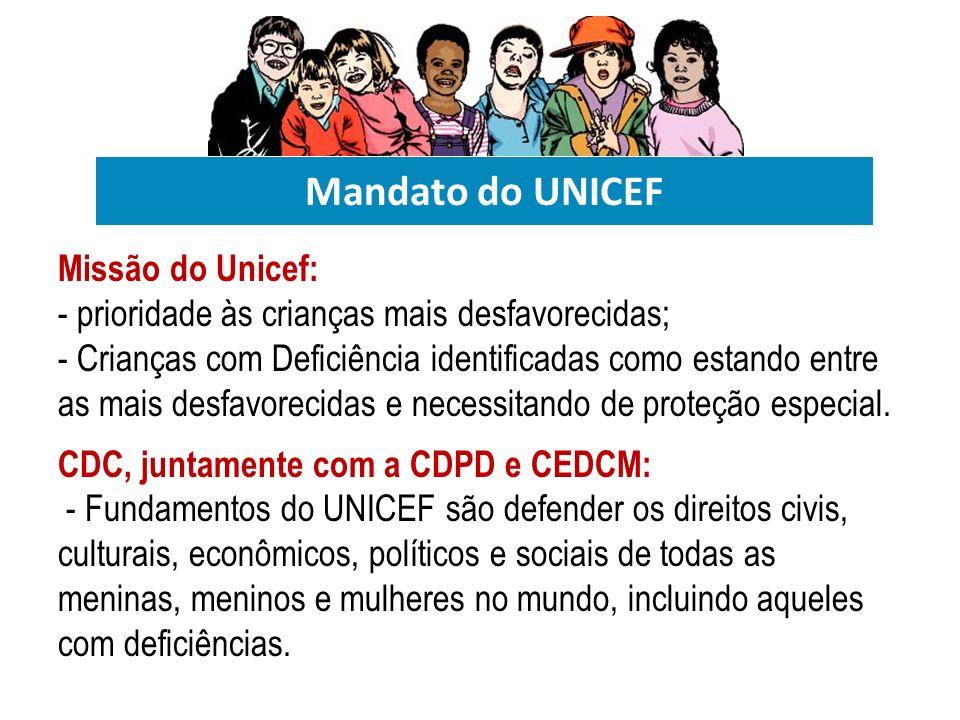 Mandato do UNICEF Missão do Unicef: - prioridade às crianças mais desfavorecidas; - Crianças com Deficiência identificadas como estando entre as mais