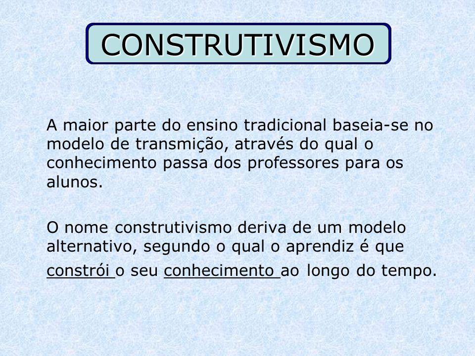 CONSTRUTIVISMO A maior parte do ensino tradicional baseia-se no modelo de transmição, através do qual o conhecimento passa dos professores para os alu