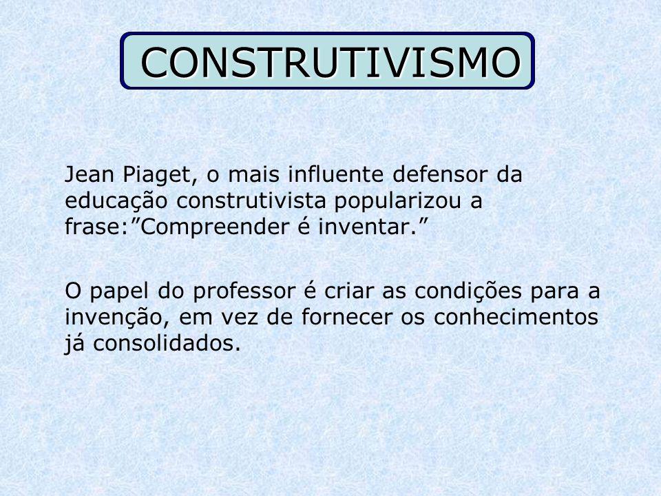 CONSTRUTIVISMO Jean Piaget, o mais influente defensor da educação construtivista popularizou a frase:Compreender é inventar. O papel do professor é cr
