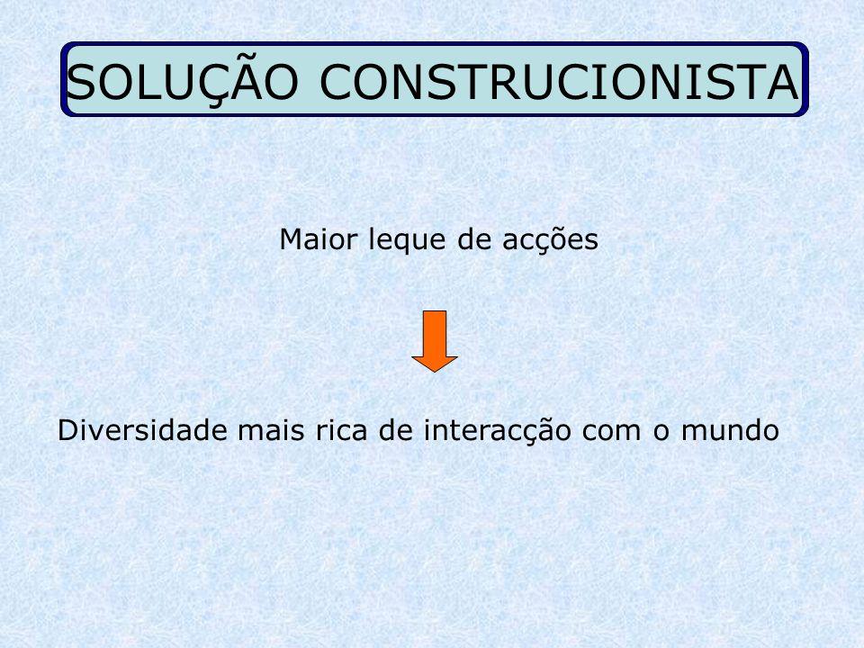 SOLUÇÃO CONSTRUCIONISTA Maior leque de acções D iversidade mais rica de interacção com o mundo