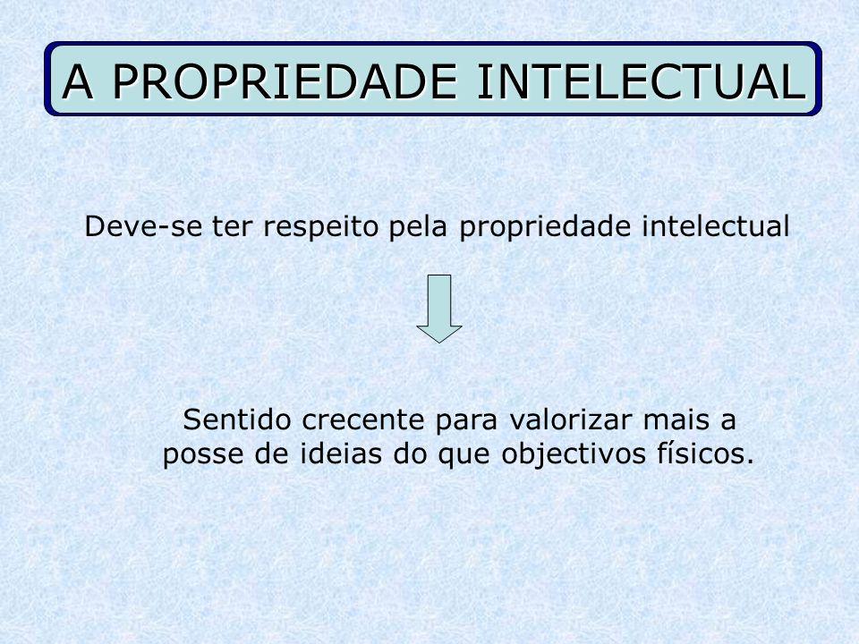 A PROPRIEDADE INTELECTUAL Deve-se ter respeito pela propriedade intelectual Sentido crecente para valorizar mais a posse de ideias do que objectivos f