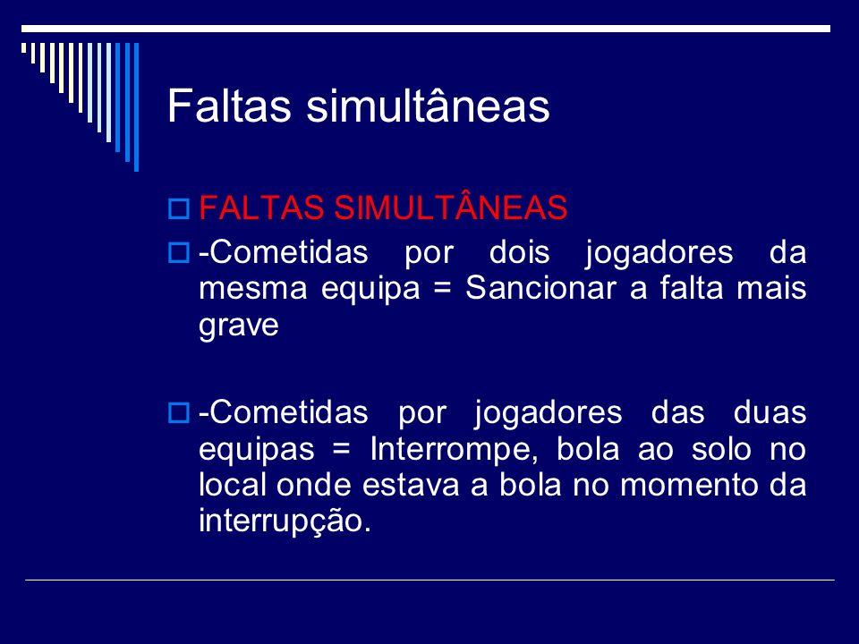 Faltas simultâneas FALTAS SIMULTÂNEAS -Cometidas por dois jogadores da mesma equipa = Sancionar a falta mais grave -Cometidas por jogadores das duas e