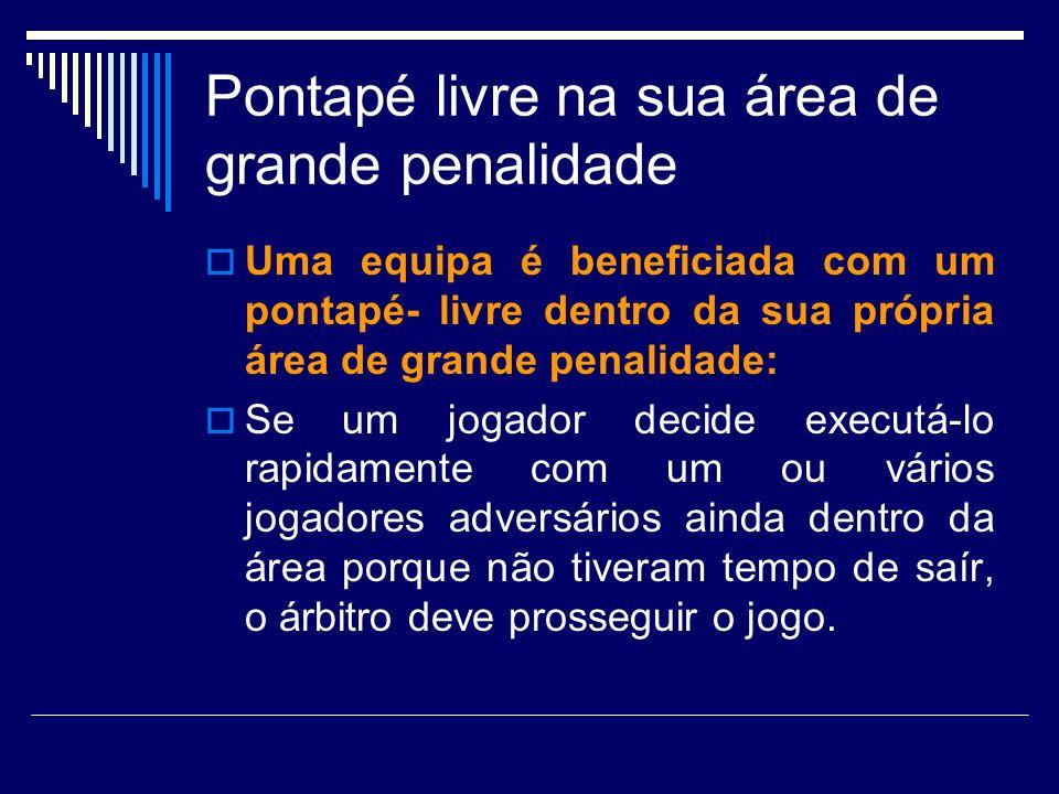Pontapé livre na sua área de grande penalidade Uma equipa é beneficiada com um pontapé- livre dentro da sua própria área de grande penalidade: Se um j