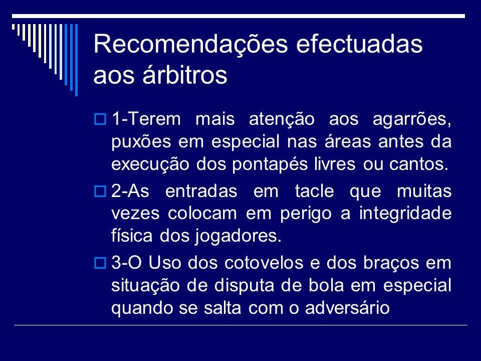 Recomendações efectuadas aos árbitros 1-Terem mais atenção aos agarrões, puxões em especial nas áreas antes da execução dos pontapés livres ou cantos.