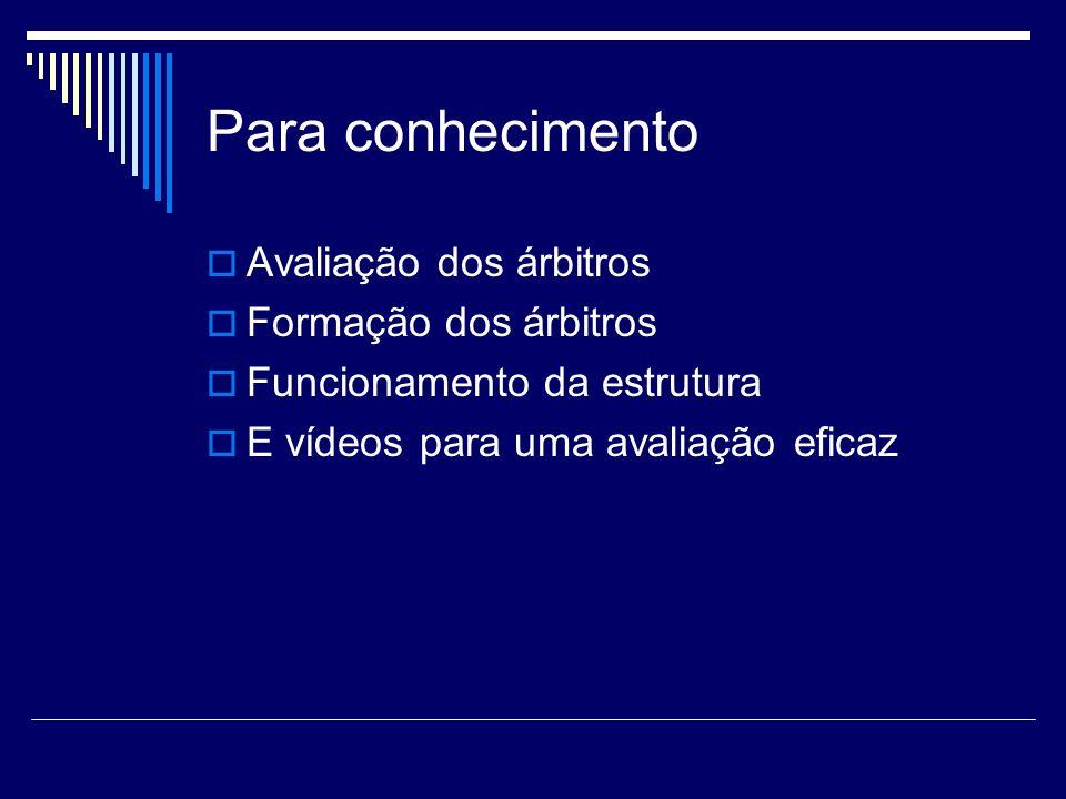 Para conhecimento Avaliação dos árbitros Formação dos árbitros Funcionamento da estrutura E vídeos para uma avaliação eficaz