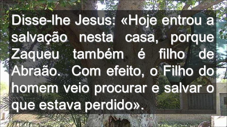 Aberto a Jesus, Zaqueu dá o melhor de si mesmo Dando-o aos outros, ele cresce