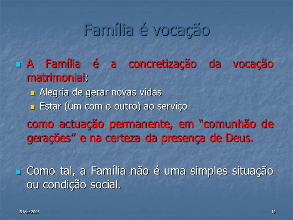 18-Mar-200610 Família é vocação A Família é a concretização da vocação matrimonial: A Família é a concretização da vocação matrimonial: Alegria de ger