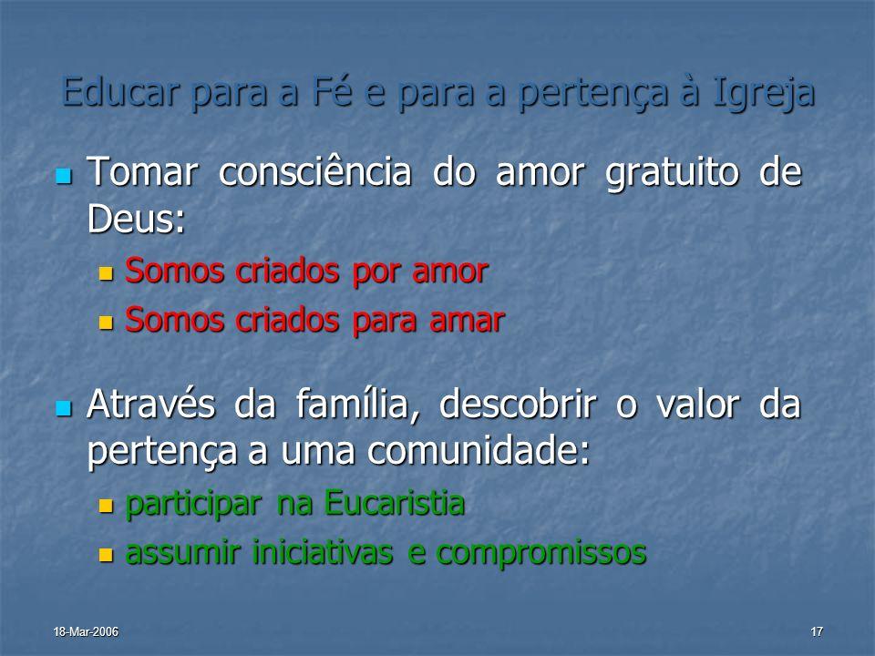 18-Mar-200617 Educar para a Fé e para a pertença à Igreja Tomar consciência do amor gratuito de Deus: Tomar consciência do amor gratuito de Deus: Somo