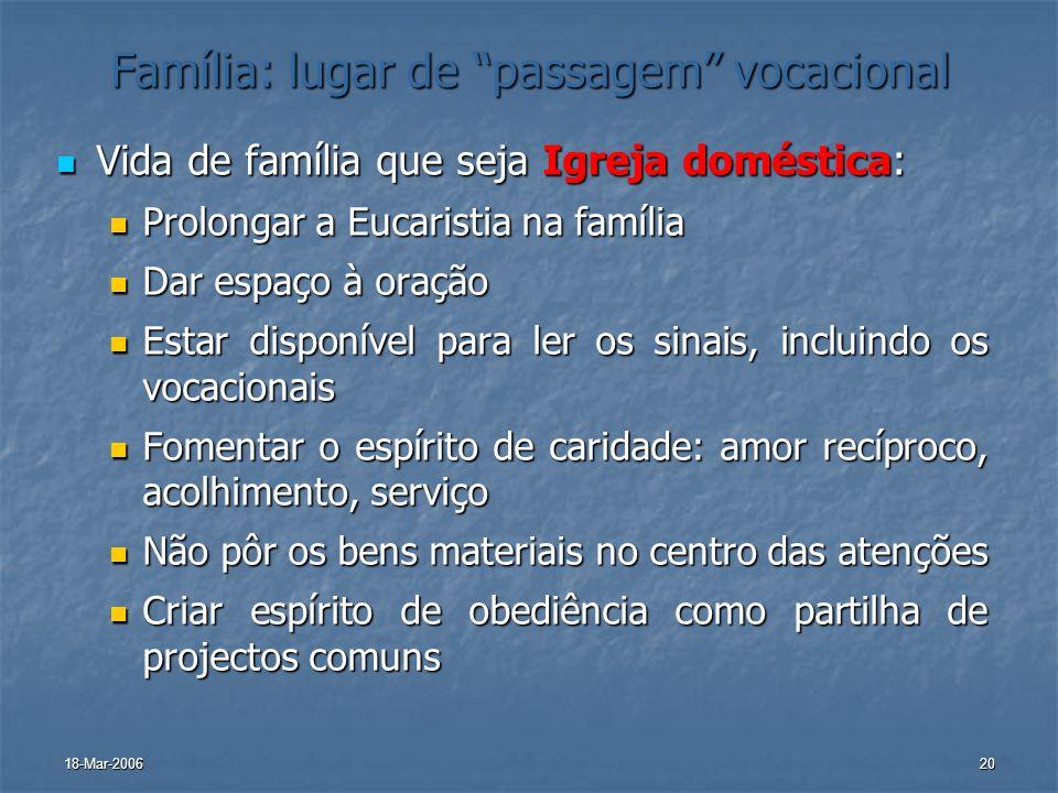 18-Mar-200620 Família: lugar de passagem vocacional Vida de família que seja Igreja doméstica: Vida de família que seja Igreja doméstica: Prolongar a