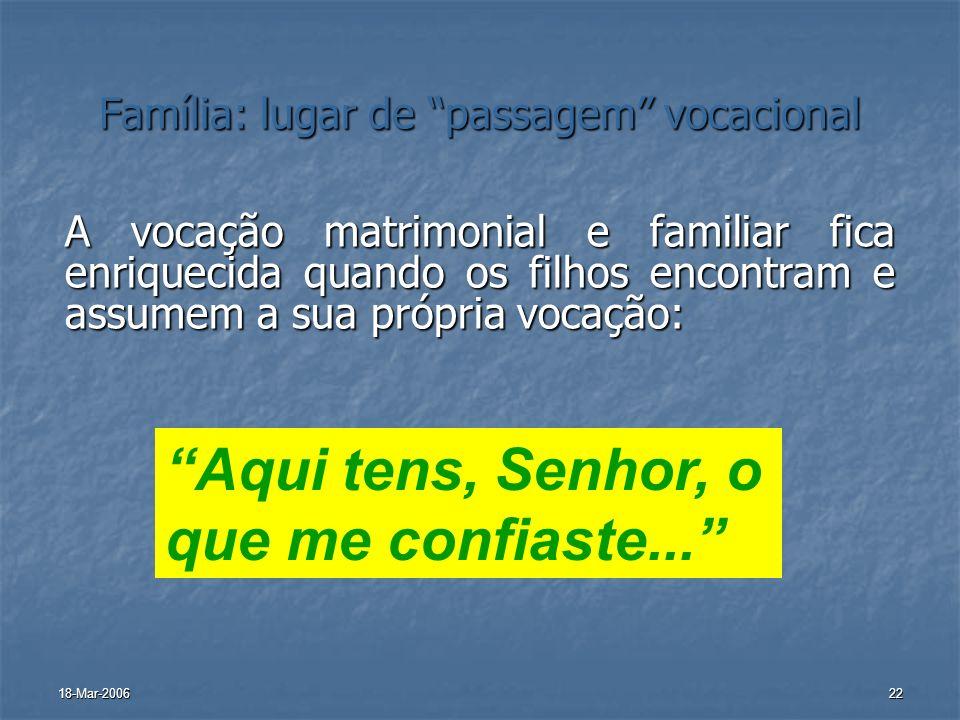 18-Mar-200622 Família: lugar de passagem vocacional A vocação matrimonial e familiar fica enriquecida quando os filhos encontram e assumem a sua própr