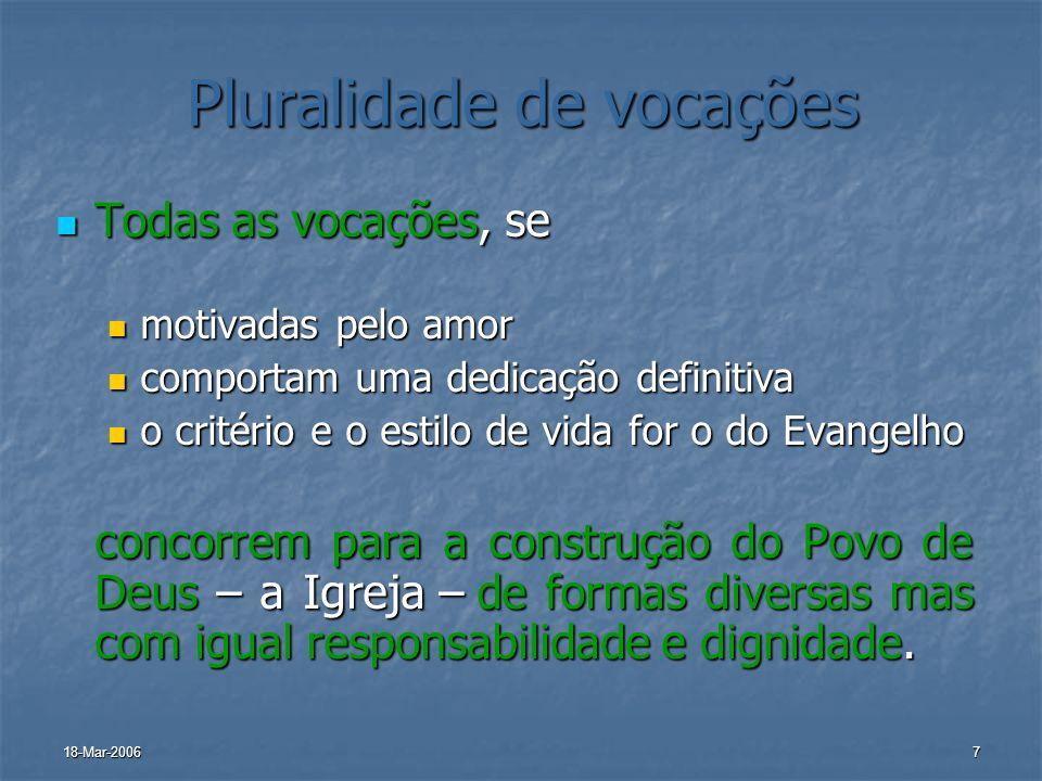 18-Mar-20067 Pluralidade de vocações Todas as vocações, se Todas as vocações, se motivadas pelo amor motivadas pelo amor comportam uma dedicação defin