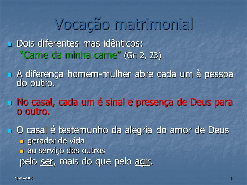 18-Mar-20068 Vocação matrimonial Dois diferentes mas idênticos: Dois diferentes mas idênticos: Carne da minha carne (Gn 2, 23) A diferença homem-mulhe