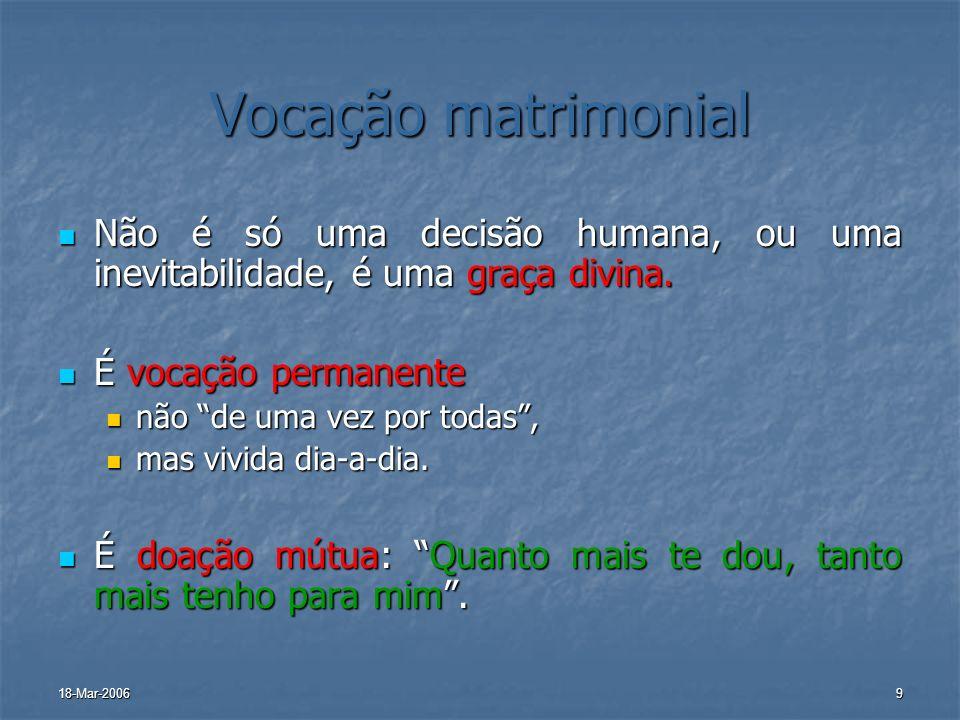 18-Mar-20069 Vocação matrimonial Não é só uma decisão humana, ou uma inevitabilidade, é uma graça divina. Não é só uma decisão humana, ou uma inevitab