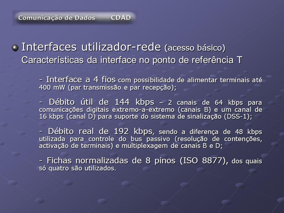 Interfaces utilizador-rede (acesso básico) Características da interface no ponto de referência T - Interface a 4 fios com possibilidade de alimentar t