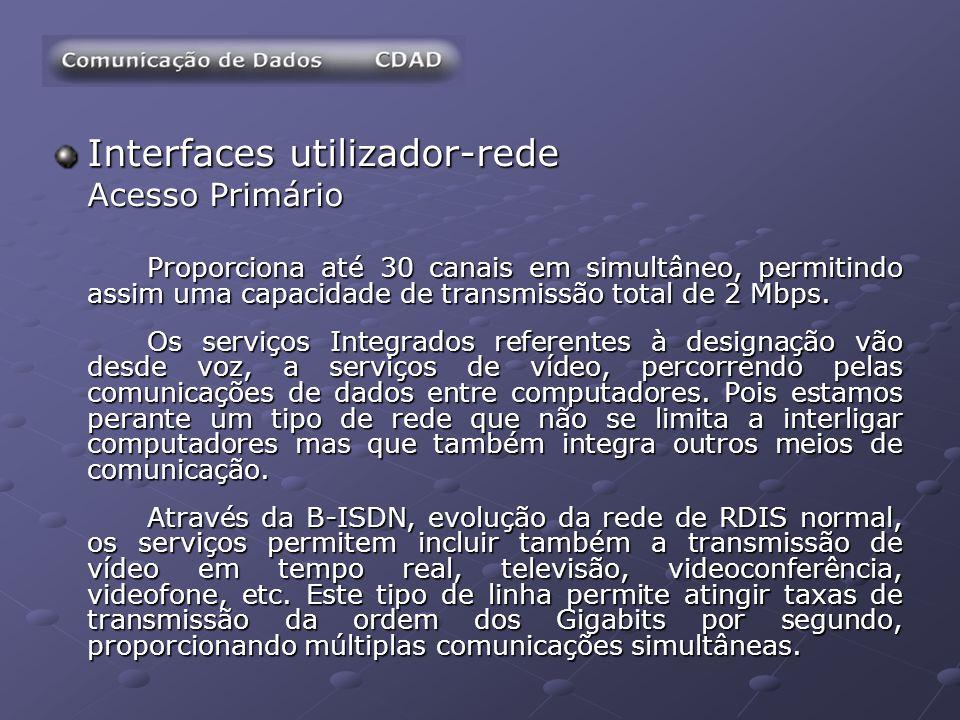 Interfaces utilizador-rede Acesso Primário Proporciona até 30 canais em simultâneo, permitindo assim uma capacidade de transmissão total de 2 Mbps. Os