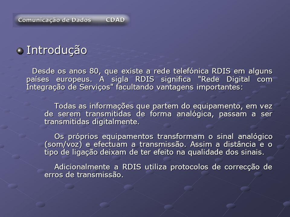 Introdução Desde os anos 80, que existe a rede telefónica RDIS em alguns países europeus. A sigla RDIS significa