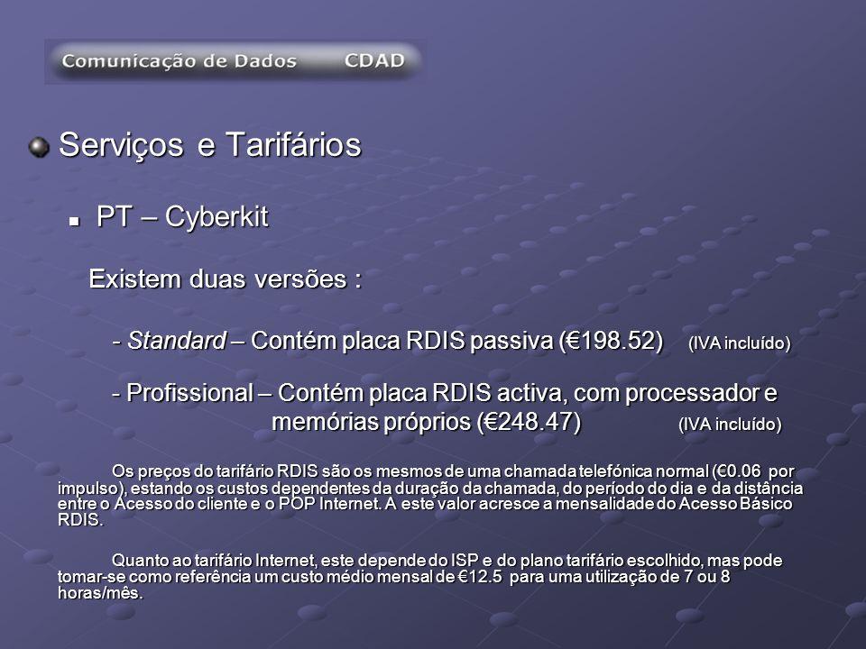 Serviços e Tarifários PT – Cyberkit PT – Cyberkit Existem duas versões : Existem duas versões : - Standard – Contém placa RDIS passiva (198.52) (IVA i
