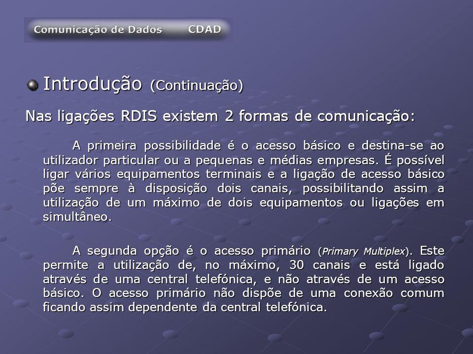 Introdução (Continuação) Nas ligações RDIS existem 2 formas de comunicação: A primeira possibilidade é o acesso básico e destina-se ao utilizador part